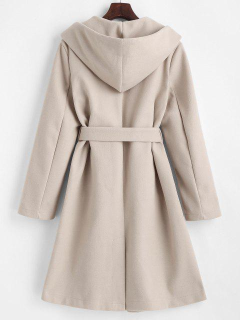 womens Hooded Belted Pockets Wool Blend Coat - LIGHT COFFEE M Mobile