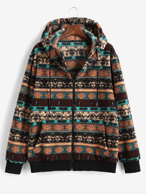 ZAFUL Tribal Pattern Hooded Fleece Jacket - القهوة العميقة XL Mobile