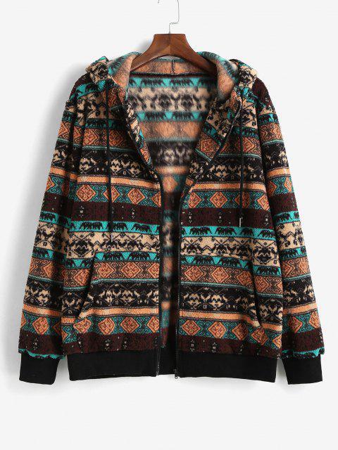 womens ZAFUL Tribal Pattern Hooded Fleece Jacket - DEEP COFFEE L Mobile