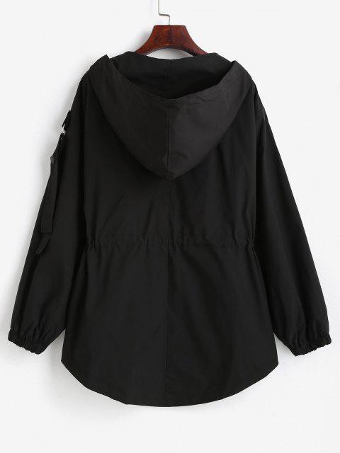 ladies Hooded Zippered Pockets Cargo Jacket - BLACK XL Mobile
