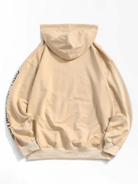 women Love is A Drug And Rose Pattern Hoodie - LIGHT KHAKI S Mobile