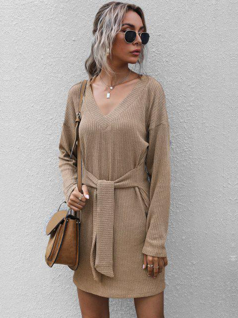 outfits Ribbed Drop Shoulder Belted V Neck Dress - LIGHT COFFEE L Mobile