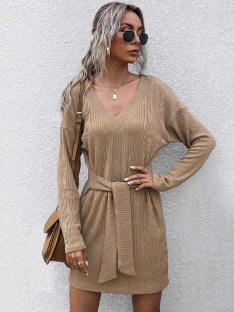 outfits Ribbed Drop Shoulder Belted V Neck Dress - LIGHT COFFEE L Mobile