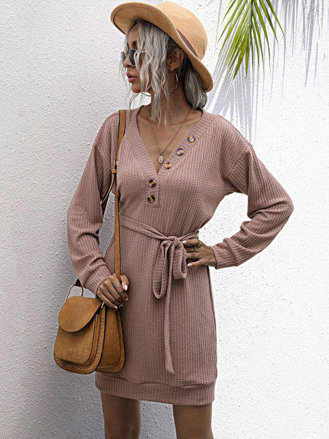 chic Long Sleeve Button Front Belted Mini Dress - LIGHT PINK S Mobile