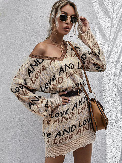 fancy Lettering Graphic Distressed V Neck Sweater Dress - LIGHT COFFEE L Mobile