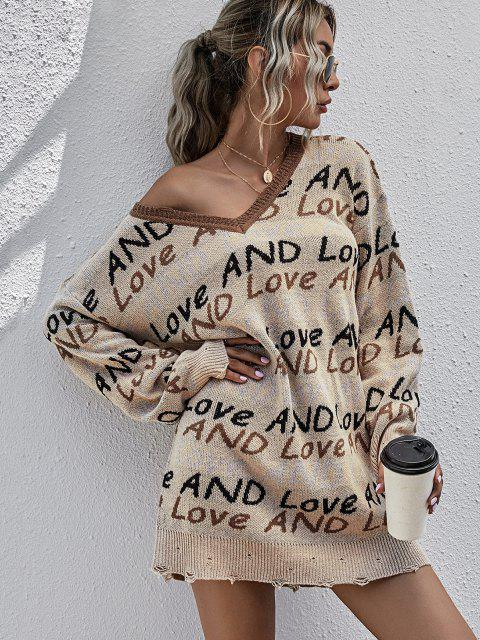 unique Lettering Graphic Distressed V Neck Sweater Dress - LIGHT COFFEE M Mobile