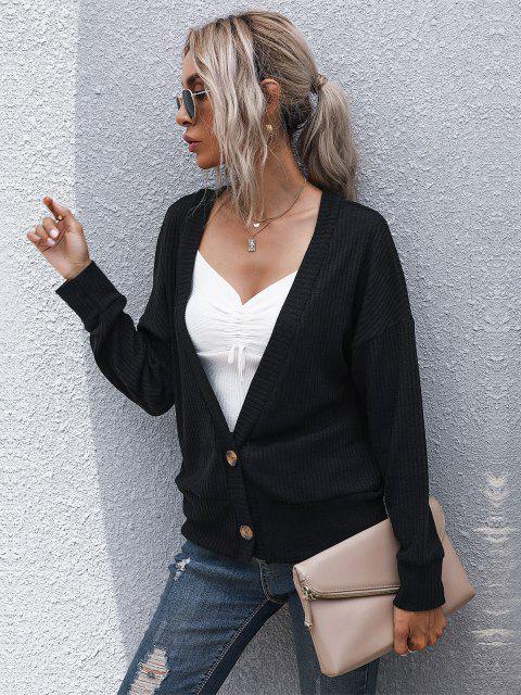 lady Ribbed Drop Shoulder Plunging Cardigan - BLACK XL Mobile