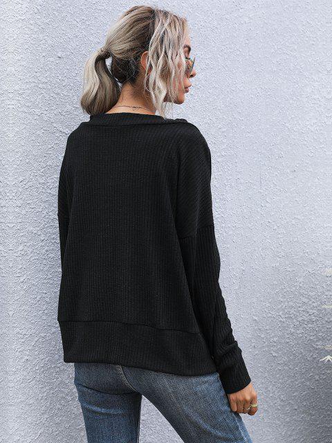 best Ribbed Drop Shoulder Plunging Cardigan - BLACK L Mobile