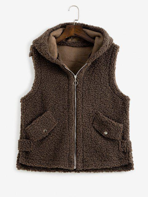 best Hooded Pocket Slit Teddy Vest Coat - DEEP COFFEE ONE SIZE Mobile