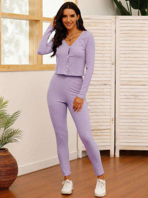 buy Solid Ribbed Button Up Two Piece Set - LIGHT PURPLE S Mobile