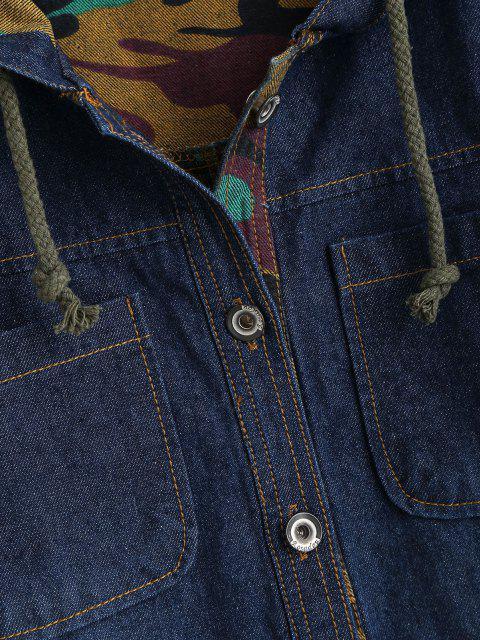 Manteau Denim à Capuche Camouflage à Doublure - Bleu XL Mobile