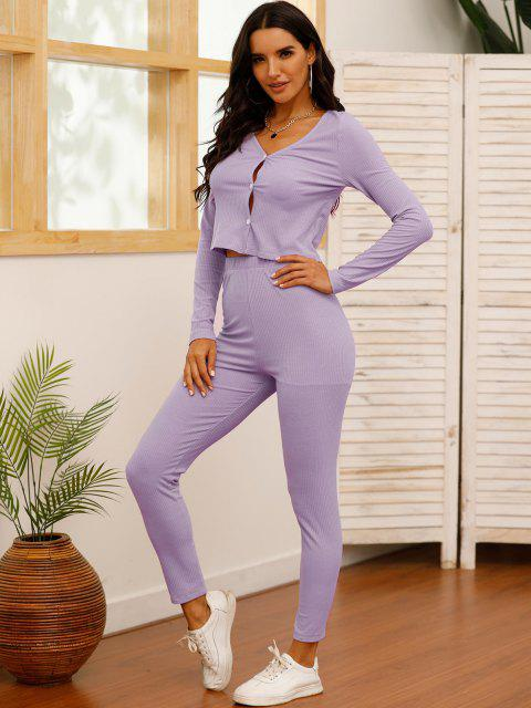 hot Solid Ribbed Button Up Two Piece Set - LIGHT PURPLE L Mobile