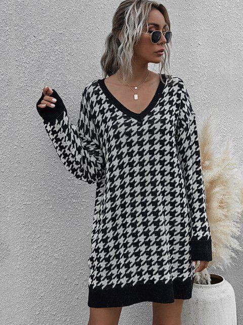 womens V Neck Houndstooth Jumper Dress - BLACK L Mobile