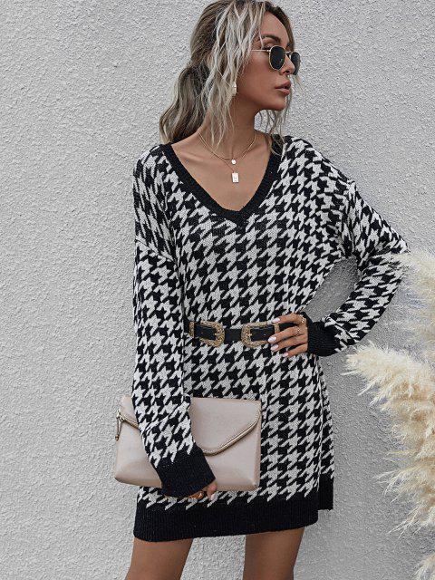 Vestido de Jersey Suelto con Cuello en V - Negro L Mobile