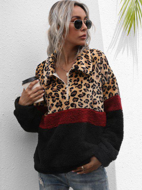 lady Half Zip Leopard Colorblock Fluffy Sweatshirt - MULTI L Mobile