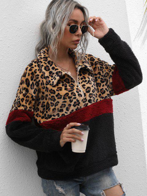 best Half Zip Leopard Colorblock Fluffy Sweatshirt - MULTI M Mobile