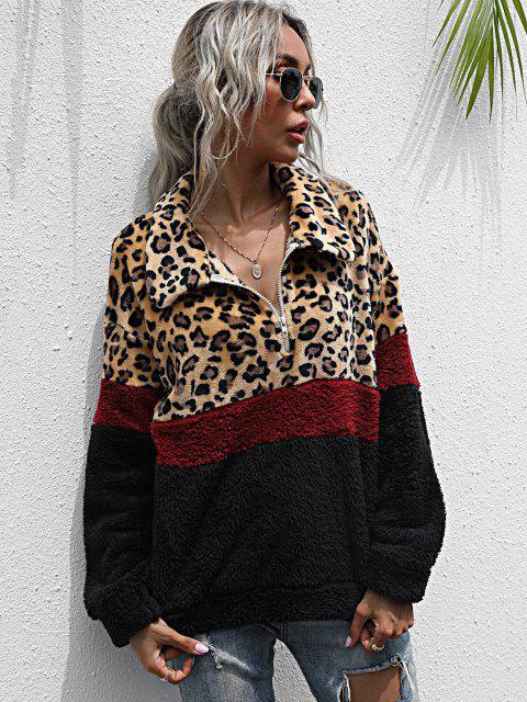 Sweat-shirt Fourré Léopard en Blocs de Couleurs à Demi-Zip - Multi S Mobile