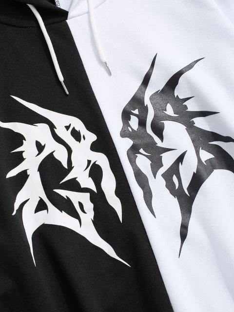 Kontrast Hoodie mit Buchstabenmuster und Kordelzug - Weiß XL Mobile