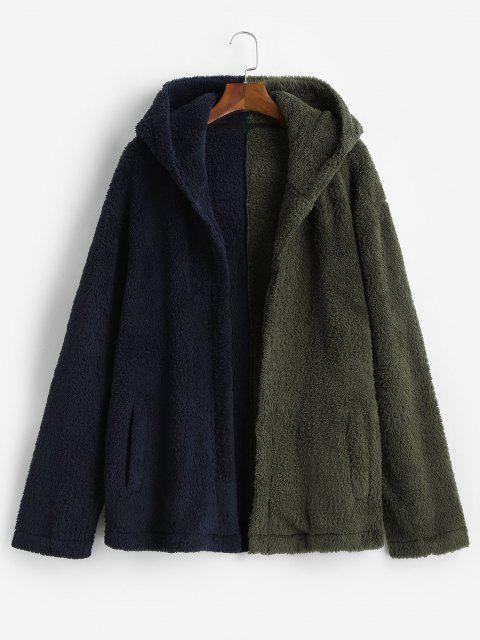 Veste à Capuche Fourrée Contrastée Ouverte en Avant - Vert profond XL Mobile