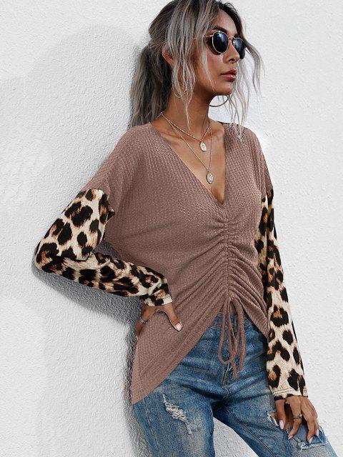 Tricô de malha gola V com mangas compridas Leopardo - Rosa Claro XL Mobile