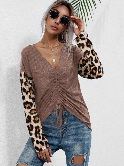 women V Neck Leopard Sleeve Cinched Front Knitwear - LIGHT PINK S Mobile