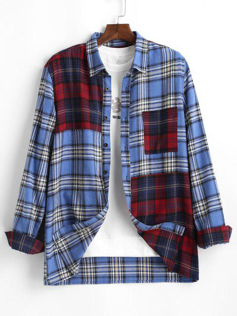 affordable Contrast Plaid Print Button Up Pocket Shirt - BLUE XL Mobile