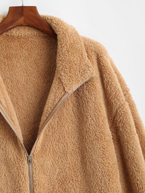 lady Zip Up Slash Pockets Fluffy Jacket - COFFEE L Mobile