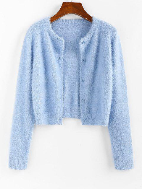 chic ZAFUL Fuzzy Button Up Plain Cardigan - LIGHT BLUE M Mobile