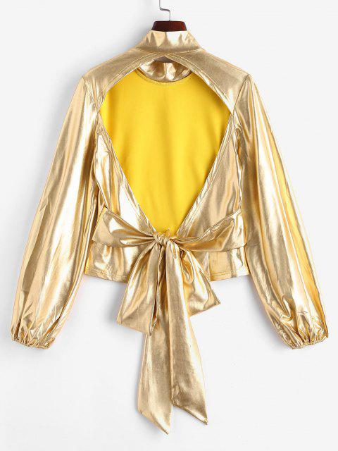 unique Metallic Open Back Tied Mock Neck Top - YELLOW S Mobile