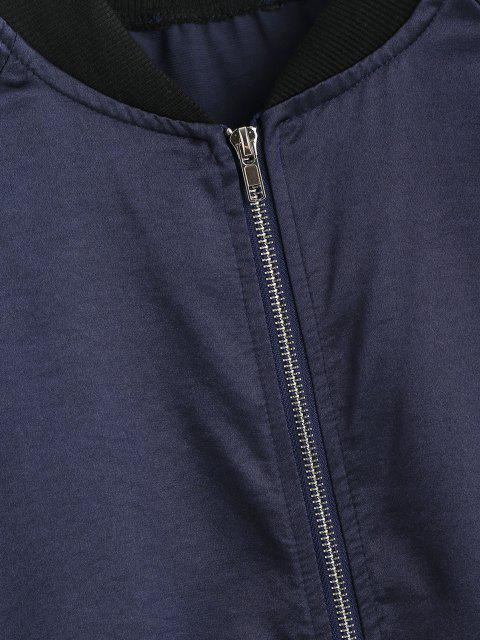 affordable Zip Up Ribbed Trim Silky Bomber Jacket - DEEP BLUE M Mobile