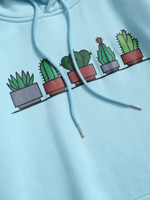 Kaktus Känguru Taschen Vlies Hoodie - Hellblau S Mobile