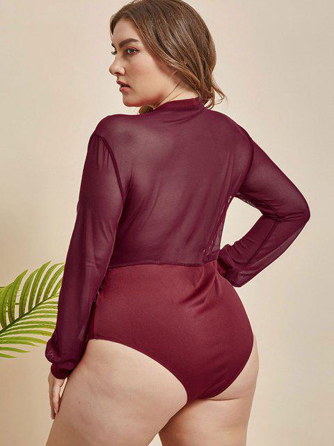 unique Plus Size Plunge Mesh Panel Half-zip Bodysuit - RED 2XL Mobile