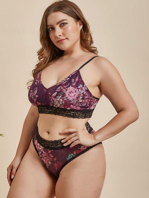 outfit Plus Size Lace Trim Floral Mesh Bra Set - CONCORD 2XL Mobile