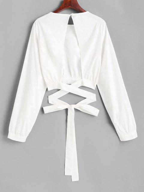 hot Tie Open Back Cropped Blouse - WHITE M Mobile