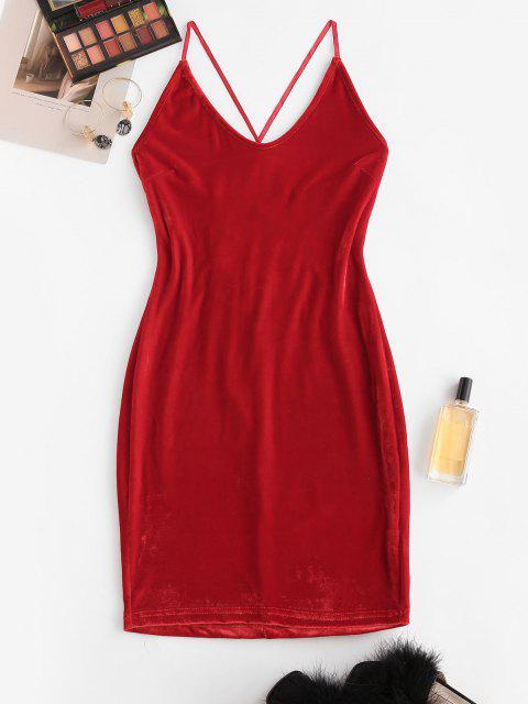 ladies Straps Lace-up Velvet Bodycon Cami Dress - RED L Mobile