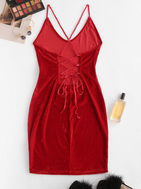 lady Straps Lace-up Velvet Bodycon Cami Dress - RED M Mobile