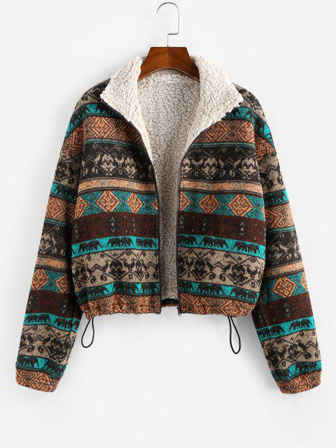 outfits ZAFUL Plus Size Ethnic Faux Shearling Lined Drawstring Zip Jacket - MULTI 3XL Mobile