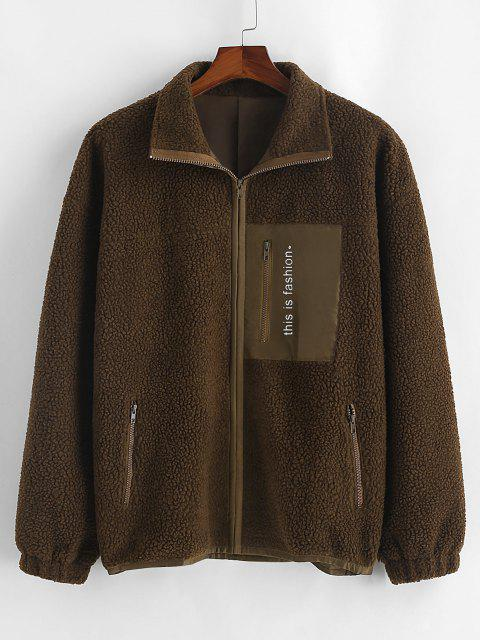 new Letter Print Zipper Pockets Teddy Jacket - DEEP COFFEE S Mobile