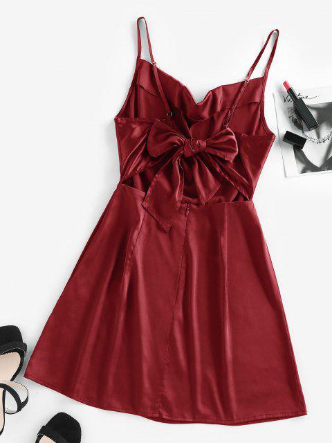 ladies ZAFUL Back Tie Satin Cami Dress - RED WINE M Mobile