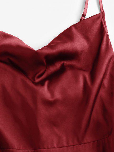 best ZAFUL Back Tie Satin Cami Dress - RED WINE XL Mobile