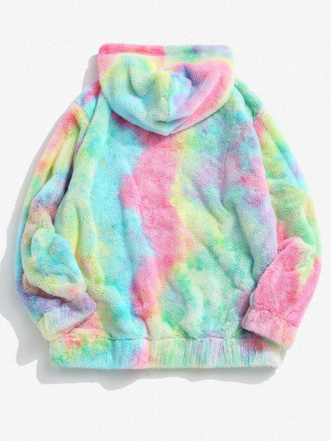 fashion Tie Dye Pattern Butterfly Embroidered Fluffy Hoodie - LIGHT PINK M Mobile