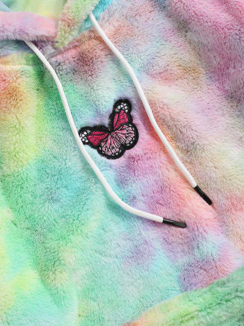 ladies Tie Dye Pattern Butterfly Embroidered Fluffy Hoodie - LIGHT PINK S Mobile