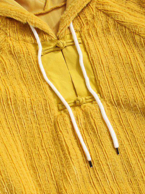 outfit Frog Button Ribbed Fuzzy Hoodie - YELLOW M Mobile