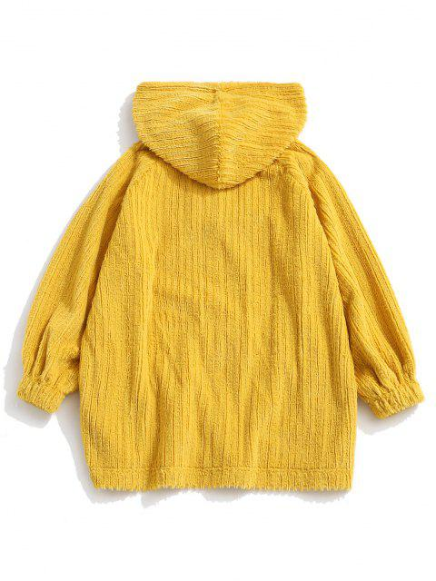 shop Frog Button Ribbed Fuzzy Hoodie - YELLOW S Mobile