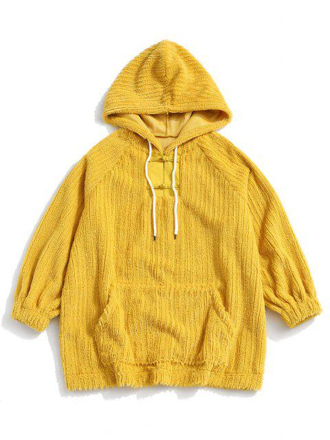 women's Frog Button Ribbed Fuzzy Hoodie - YELLOW L Mobile