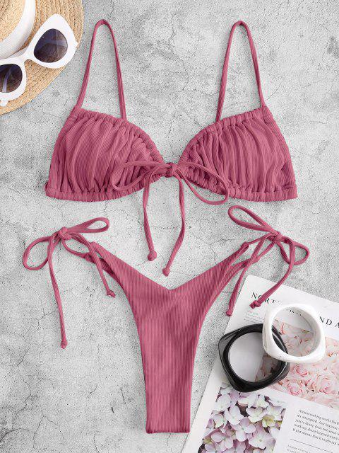 ZAFUL Bikini de Tie-dye con Cordones - Lápiz Labial Rosa S Mobile