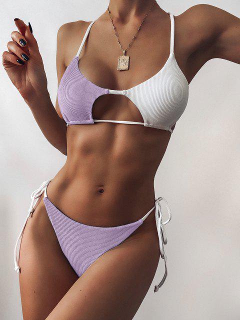 ZAFUL Bikini Recortado de Cadena con Bloqueo de Color - purpúreo claro S Mobile