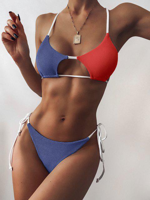ZAFUL Bikini Recortado de Cadena con Bloqueo de Color - Multicolor L Mobile