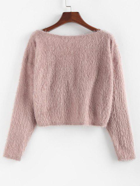 hot ZAFUL Fuzzy Twisted Drop Shoulder Jumper Sweater - DEEP PINK M Mobile