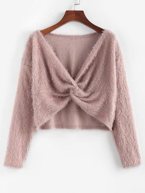 best ZAFUL Fuzzy Twisted Drop Shoulder Jumper Sweater - DEEP PINK S Mobile